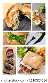 Collage of fast food dish and various hamburgers