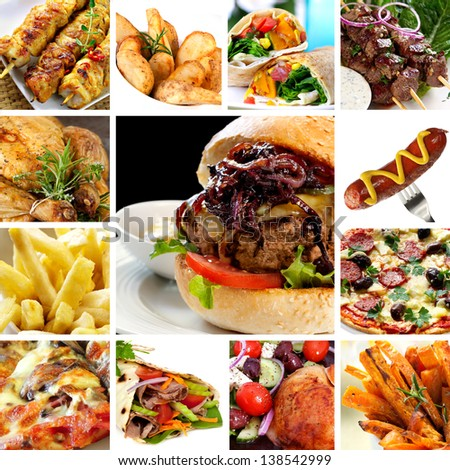 Collage Fast Food Items Including Burgers Stock Photo Edit Now