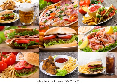 collage of fast food products - Shutterstock ID 95710771