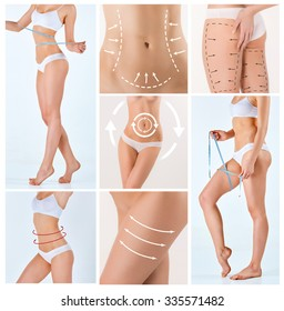 Collage of female body with the drawing arrows. Fat lose, liposuction and cellulite removal concept.