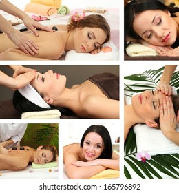 Collage of female massage and spa