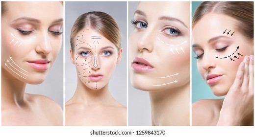 Collage of female portraits. Healthy faces of young women. Spa, face lifting, plastic surgery concept.