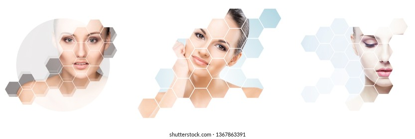 Collage of female portraits. Healthy faces of young women. Spa, face lifting, plastic surgery collage concept.