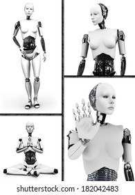 Collage with a female robot. Four different views of the humanoid robot. White background.