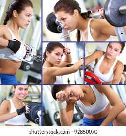 Collage of fit brunette in sport gym