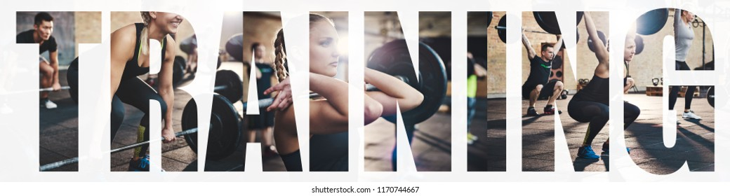 Collage of a fit young woman focused on lifting weights during a workout session at the gym with an overlay of the word training