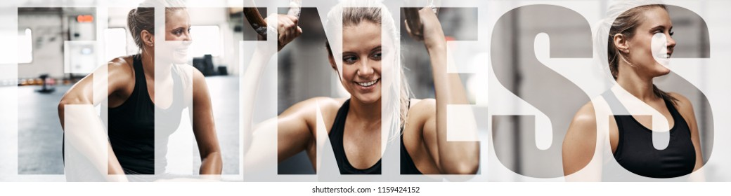 Collage of a fit young woman smiling while taking a break from her gym workout with an overlay of the word fitness