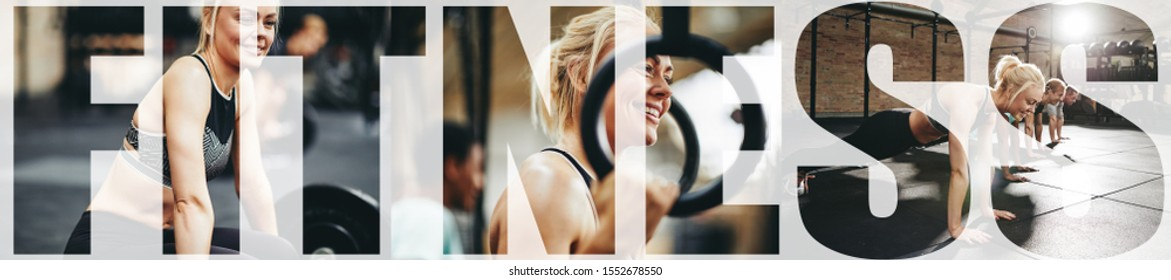 Collage of a fit young woman smiling while lifting weights, doing pushups and using rings in a gym with an overlay of the word fitness