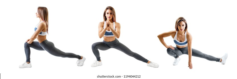 Collage of fitness woman doing lunge exercise. Isolated on white. Sport lifestyle concept.