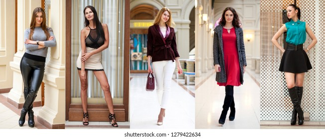A collage of five different young girls in bright fashionable clothes