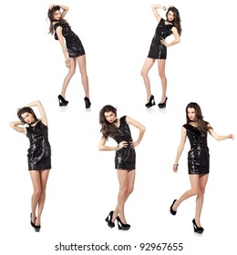 Collage of five isolated images of an attractive fashion model posing in black sequin dress. High resolution studio shots.