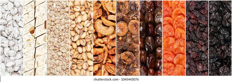 Collage in the form of vertical stripes showing different kind of nuts, dried fruits and tahini halva. Such as the pistachios, peanuts, raisins, prunes, figs and dates