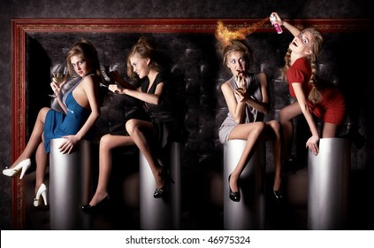 Collage. Four beauty girls have a good time at the club