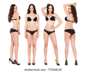 Collage four fashion models. Full portrait of sexy brunette women in black lingerie, isolated on white background