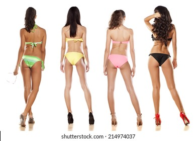 collage of four girls in bikini from behind