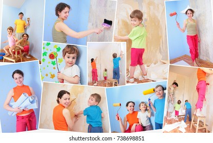 collage of four people, happy family doing repairs in apartment, glues wallpaper