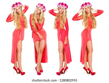 Collage four sexy blonde women in red dress, Young girls with a wreath on her head