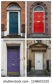 collage of four traditional entrance doors of a British house