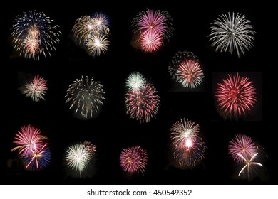 Collage of Fourteen High Definition Fireworks on Pitch Black Night Sky