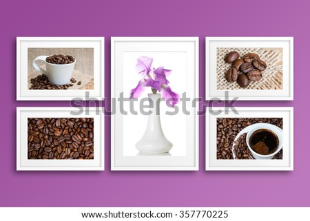 collage frames coffee motif posters vase stock photo edit now