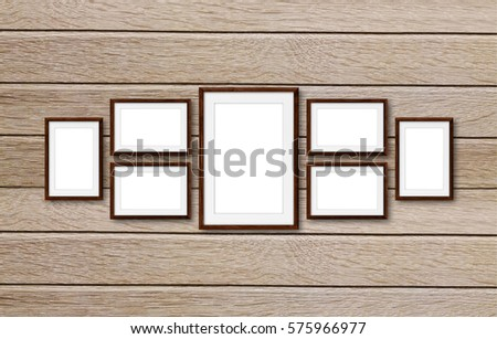 Collage Frames On Wooden Panels Wall Stock Photo (Edit Now ...