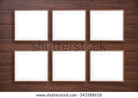 Collage Frames On Wooden Wall Stock Photo (Edit Now) 343388618 ...