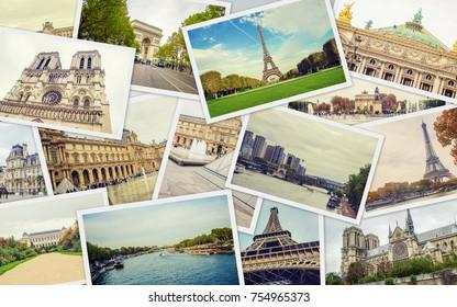 Collage France Paris. Selective focus.