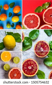 Collage of fresh citrus fruit healthy ealthy food concept.