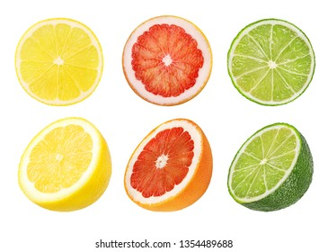 Collage of fresh citrus isolated on white background with clipping path