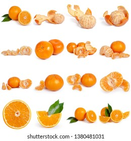 Collage of fresh citrus isolated on white background