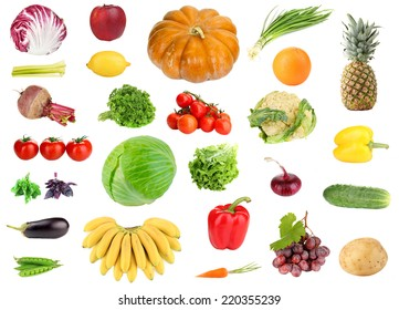 Collage of fresh fruit and vegetables isolated on white