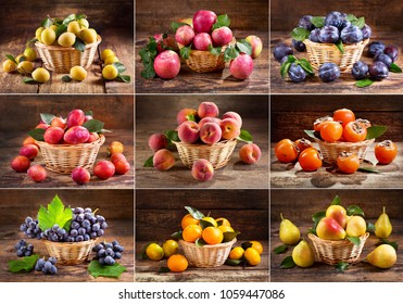 collage of fresh fruits in a basket on wooden background