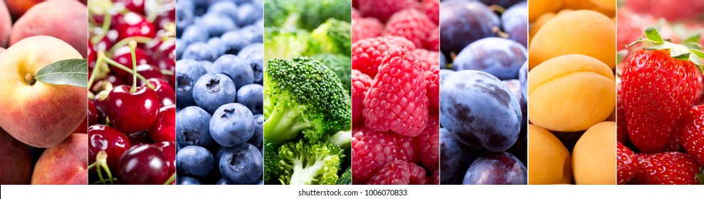 collage of fresh fruits and vegetables, banner