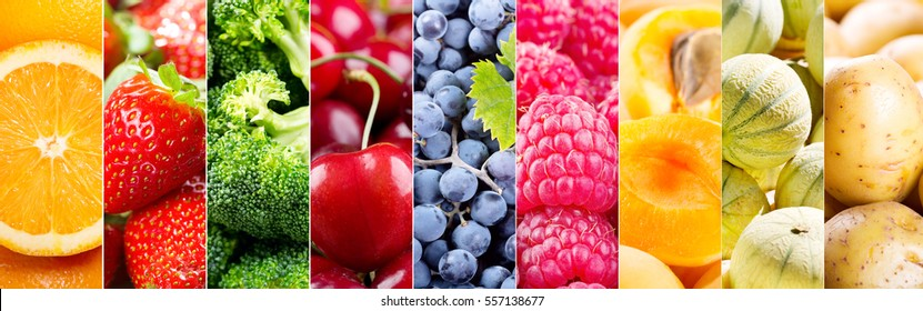 collage of fresh fruits and vegetables, banner.