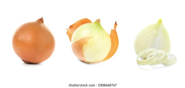 Collage with fresh onion on white background
