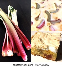 Collage with fresh rhubarb, dough with rhubarb slices and final cake