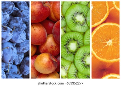 Collage of fresh and ripe summer fruit in the form of vertical stripes