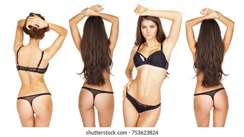 Collage front and rear view. Young brunette women in black underwear