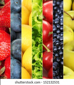 Collage of fruits and berries close-up background