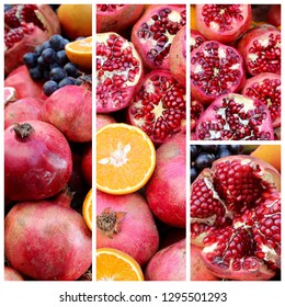 collage of fruits. food concept