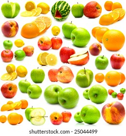collage from fruits on a white background. Isolation