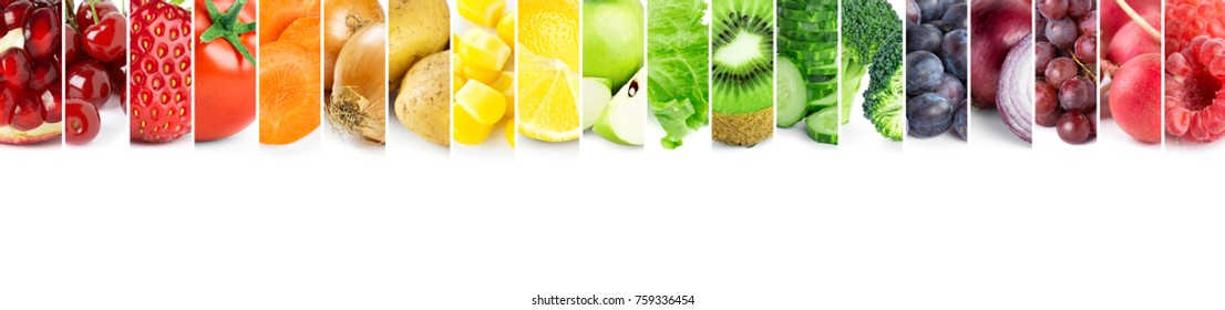 Collage of fruits and vegetables. Fresh ripe color food. Food concept