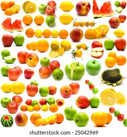 collage from fruits and vegetables on a white background. Isolation