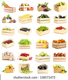 Collage of fruits and vegetables in wooden boxes isolated on white