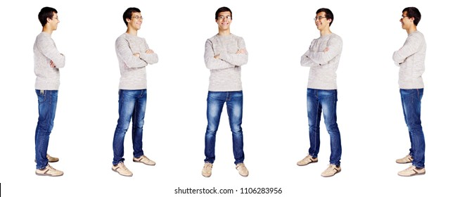 Collage of full body portraits of cheerful young man with crossed arms on his chest wearing metal frame glasses, beige sweater, blue jeans and leather sneakers isolated on white background