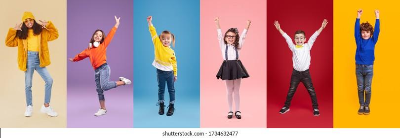 Collage of full length multiethnische Kinder in trendigen Kleidungsstücken, gestikultiert und tanzt gegen farbenfrohe Hintergründe
