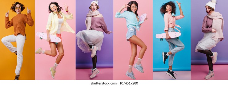 Collage Full-length portrait of carefree girl in white pants jumping on orange background. Romantic lady with wavy hair dancing in knitted sweater.
