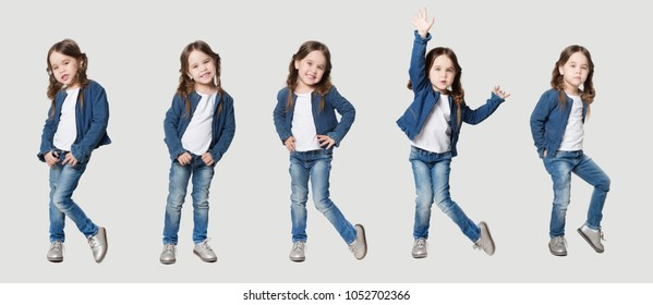 collage of funny little girl  in jeans and white t-shirt looking at camera  over white background