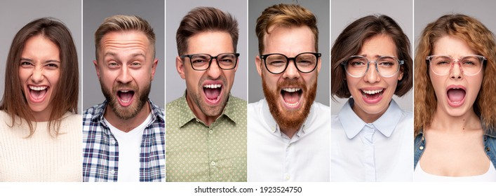 Collage of furious crazy young people in casual clothes shouting loudly at camera on gray background