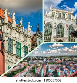Collage of Gdansk architecture of historical city Poland